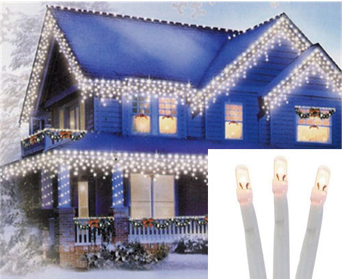 set of 96 twinkling warm white led christmas icicle lights connect 24v extension set white wire 31084563 - Led Christmas Icicle Lights