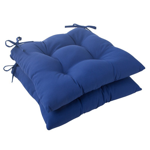 """Set of 2 Traditional Navy Blue Outdoor Patio Tufted Seat Cushions with Ties 19"""" - 30951624"""