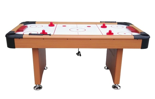 6' x 3' Brown, White and Red Recreational Air Hockey Game Table - 32283730