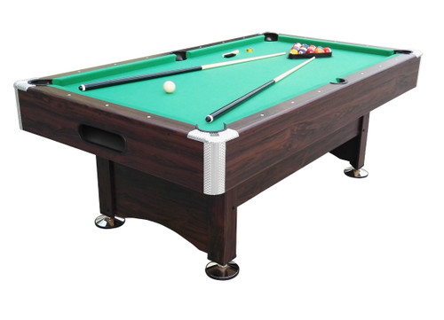 7' x 3.96' Brown and Green Billiard and Pool Game Table - 32283687