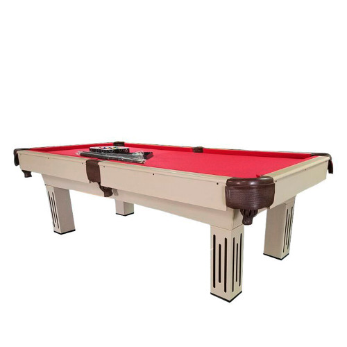8' x 4.3' Beige, Brown and Red Billiard and Pool Game Table - 32283684