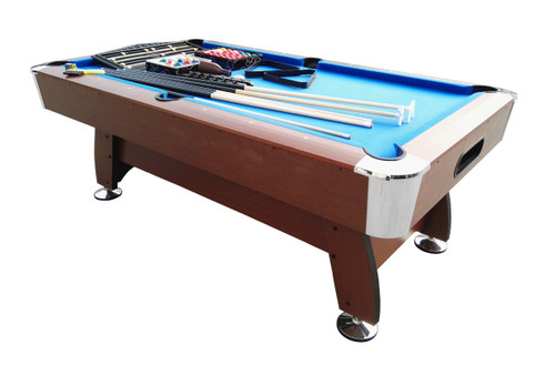 7' x 3.98' Brown and Blue Deluxe Billiard Pool and Snooker Game Table - 32283690