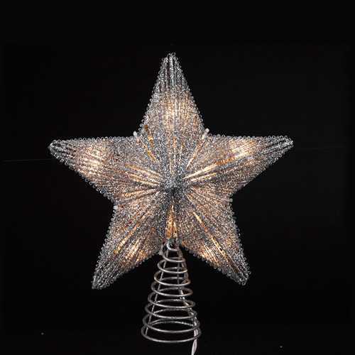 14 Ice Palace Lighted Scrolling Silver Star Christmas Tree Topper