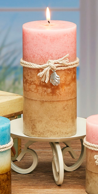 """Pack of 4 Baby Pink and Tan Tropical Berry Scented Wax Pillar Candles 6"""" - 31523604"""