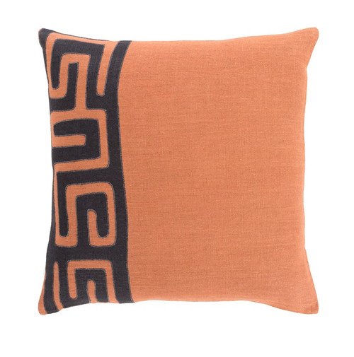 "20"" Tribal Rhythm Outer Space Black and Carnelian Orange Woven Decorative Throw Pillow-Down Filler - 32217684"