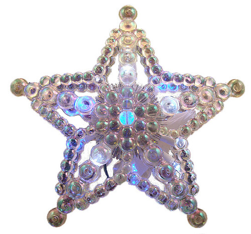"""7.5"""" LED Lighted Color Changing Beaded Star Christmas Tree Topper - Multi Lights - 14057429"""