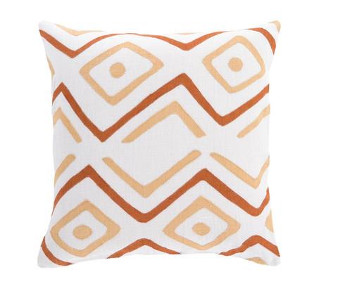 "22"" Tribal Rhythm Carnelian Orange, Cream and Polar White Woven Decorative Throw Pillow - 32217731"