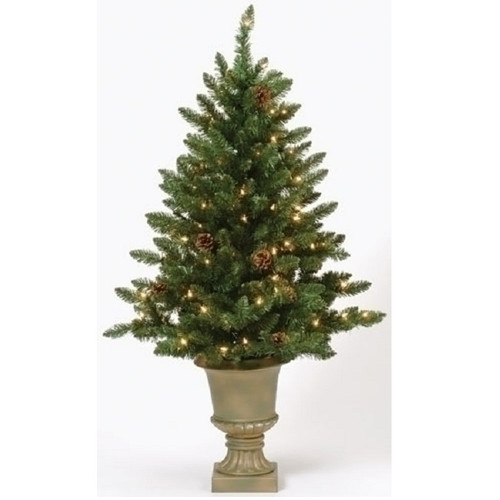 4 39 Pre Lit Potted Freemont Pine Artificial Christmas Tree