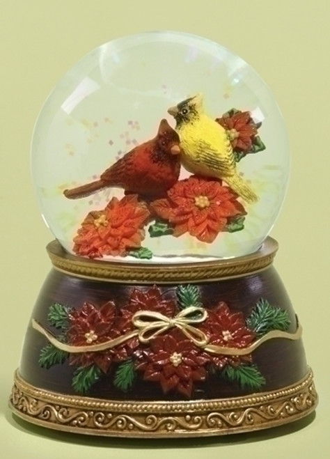 """5.38"""" Musical Red and Yellow Cardinal Bird on Poinsettias Christmas Glitterdome - 31083534"""