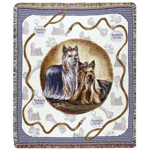 "Yorkshire Yorkie Terrier Dog Tapestry Throw By Artist Pat Lehmkuhl 50"" x 60"" - 7379976"
