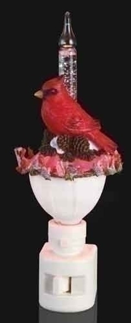 "6.5"" Red Cardinal and Holly Christmas Bubble Night Light - 28450084"