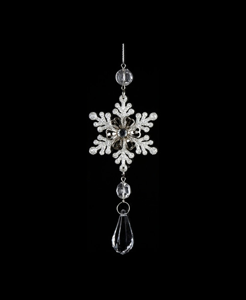 """6.5"""" Ice Palace Snowflake with Teardrop Clear Gem Pendant Christmas Ornament - 30851130"""