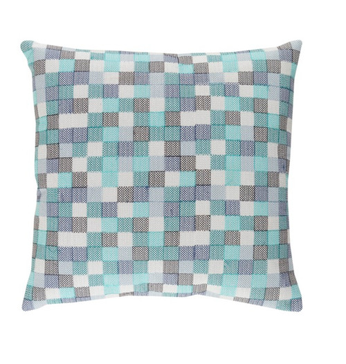 "20"" Baby Blue and Eye Liner Black Chevron Decorative Throw Pillow - Down Filler - 32214937"