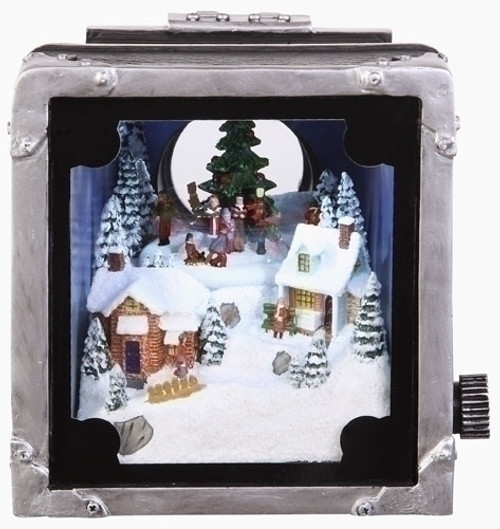 Retro Animated and Lighted Decorative Camera with Christmas Carolers - 11075349