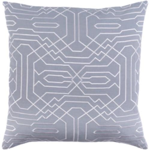 "22"" Storm Gray and Snow White Chevron Decorative Throw Pillow - Down Filler - 32215440"