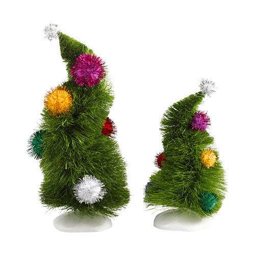 """Set of 2 Department 56 Dr. Seuss The Grinch """"The Last Can Of Who Hash"""" Wonky Trees #4032417 - 31086178"""