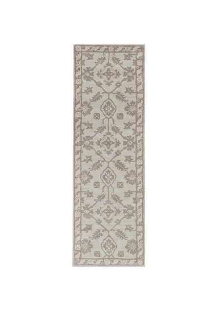 2.5' x 8' Botanic Oasis Water Gray and Soulmate Purple Hand Tufted Wool Area Throw Rug Runner - 32210328