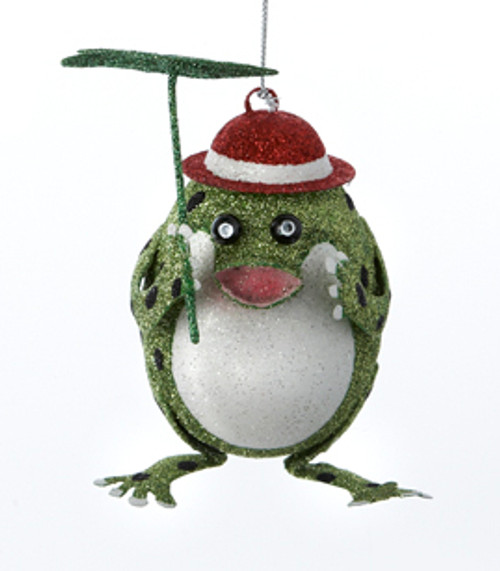 "4.5"" Green Glittered Frog with a Bowler's Hat and Lily Pad Umbrella Christmas Ornament - 31082531"