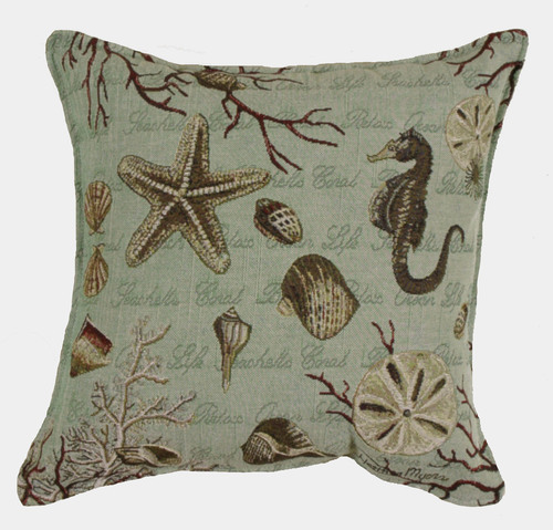 "Set of 2 Seafoam Nautical Ocean Life Square Decorative Tapestry Throw Pillows 17"" - 31506632"