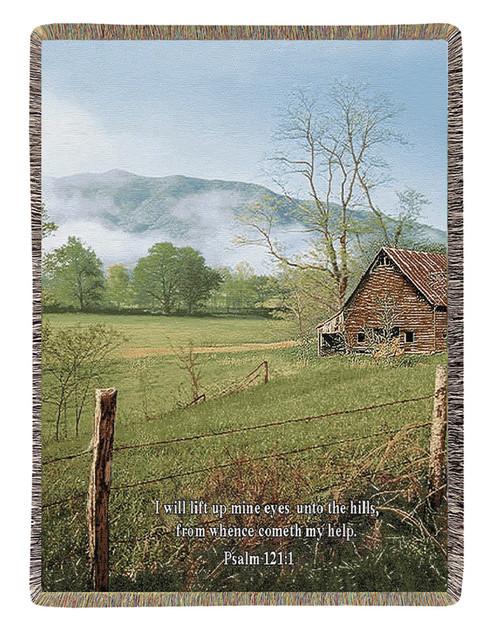 "I Lift My Eyes Farm Scene Psalms 121:1 Verse Tapestry Throw Blanket 50"" x 60"" - 30782028"