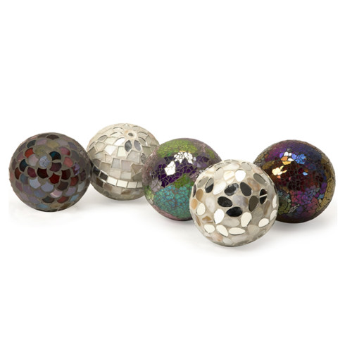 """Set of 5 Mosaic Crackle Glass Mirrored Shell Tabletop Ball Decorations 4"""" - 13223728"""