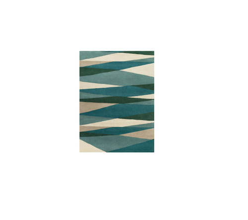7.5' x 9.5' Pyramid Escape Caribbean and Slate Blue Carved Wool Area Throw Rug - 32211469