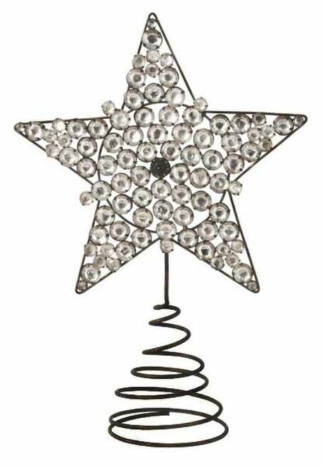 """9.25"""" Clear Jeweled Star Christmas Tree Topper - Unlit - 31092619"""