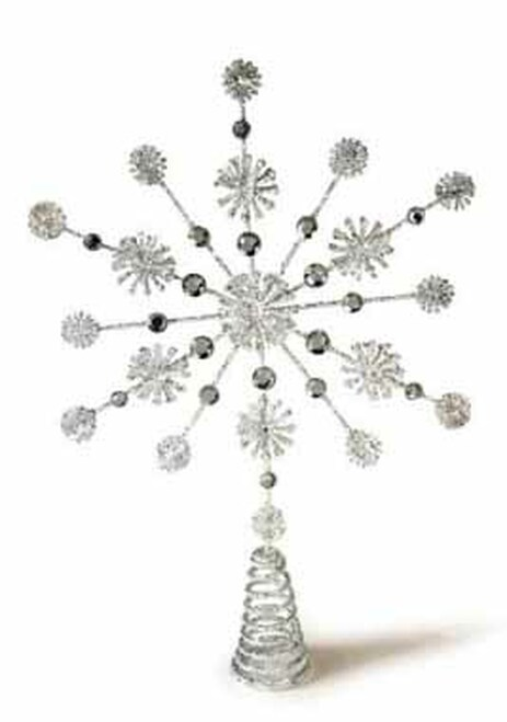 """15"""" Silver Glittered and Jeweled Snowflake Christmas Tree Topper - Unlit - 30882368"""