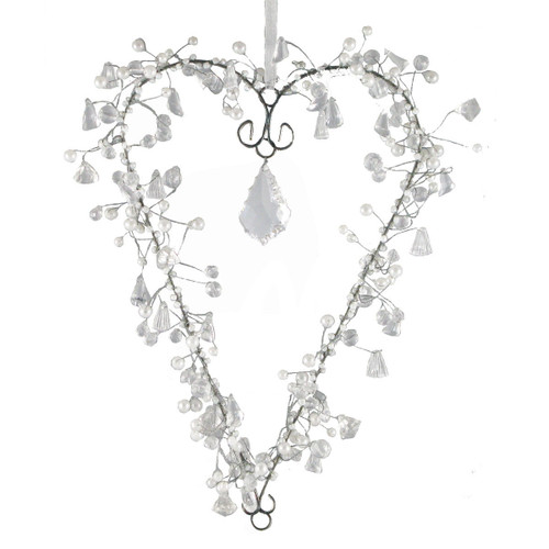 """Set of 2 Clear and White Beaded Heart with Hanging Crystal 11"""" - 31010614"""