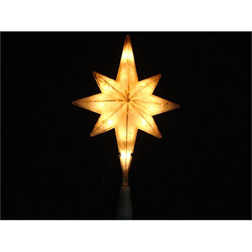 """11"""" Lighted Frosted White Bethlehem Star Christmas Tree Topper - Clear Lights - 31082210"""