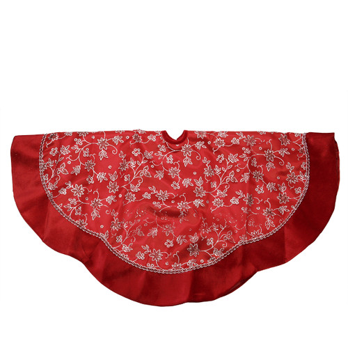 "48"" Red and Silver Glittered Floral Christmas Tree Skirt with Velveteen Trim - 31451483"