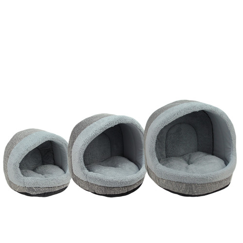 Set of 3 Plush Steel Blue and Distressed Gray Faux Leather Cozy Igloo Pet Beds - 32155369