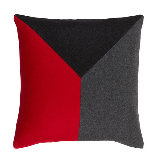 "18"" Lady Bug Red and Pewter Gray Geometric Decorative Throw Pillow - Down Filler - 32216091"