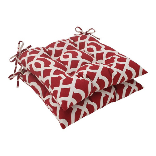 "Set of 2 Moroccan Mosaic Red Outdoor Patio Furniture Tufted Chair Cushions 19"" - 30951423"