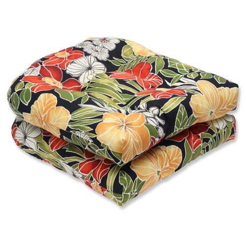 "Set of 2 Clemens Noir Outdoor Patio Wicker Seat Cushion 19"" - 32586017"