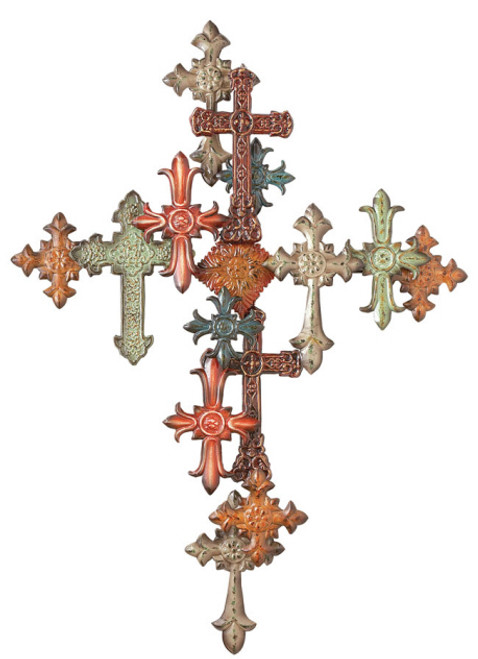 """40"""" Religious Multi-Color Cross Collage Wall Sculpture - 7303559"""