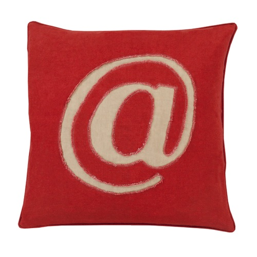 """18"""" Crimson Red and Tan Trending """"@""""  Novelty Throw Pillow - 31396277"""