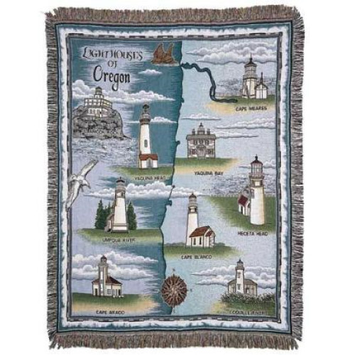 "Lighthouses of Oregon Tapestry Throw Blanket 50"" x 60"" - 7379845"