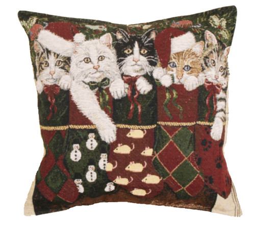 "Set of 2 Christmas Kitty Cat Stockings Decorative Tapestry Throw Pillows 17"" - 31081421"
