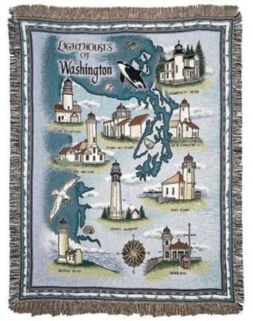 """Lighthouses of Washington State Tapestry Throw Blanket 50"""" x 60"""" - 7379844"""