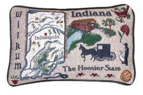 """Set Of 2 State of Indiana """"The Hoosier State""""  Decorative Throw Pillows 9"""" x 12"""" - 7378716"""