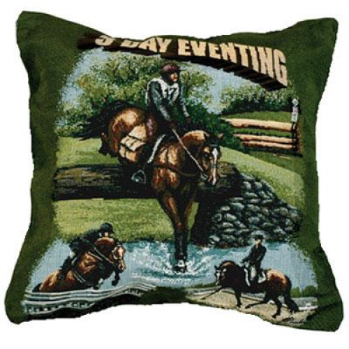 """3 Day Eventing Horses Equestrian Decorative Throw Pillow 17"""" x 17"""" - 10746844"""