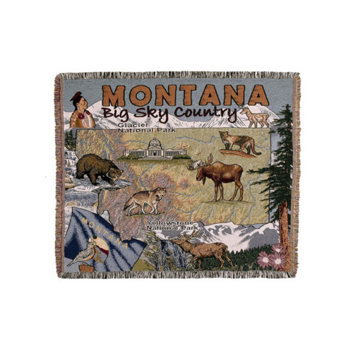 """State of Montana """"Big Sky Country"""" Fringed Afghan Throw Blanket 60"""" x 50"""" - 30937188"""