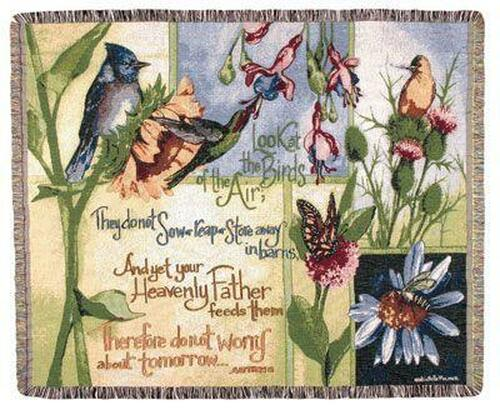 """Exquisite Birds of the Air Religious Verse Tapestry Throw Blanket 50"""" x 60"""" - 7491469"""