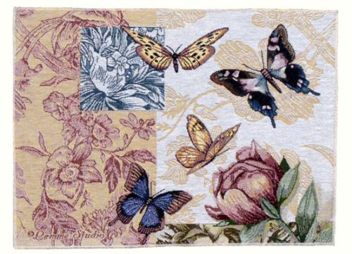 "Pack of 2 Floral Butterfly Decorative Tapestry Placemats 12"" x 18"" - 15656807"