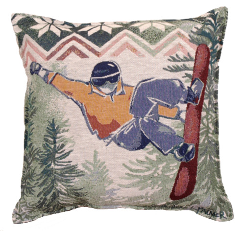 "Set of 2 Rustic Mountain Snowboarding Decorative Tapestry Throw Pillows 17"" - 31081424"
