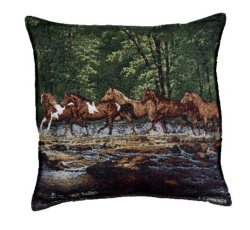 "Pack of 2 Running Horse Herd Tapestry Square Throw Pillows 17"" - 15656820"