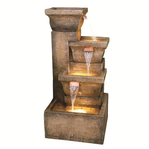 """33"""" Lighted Rustic Weathered Outdoor Garden Water Fountain - 13929371"""