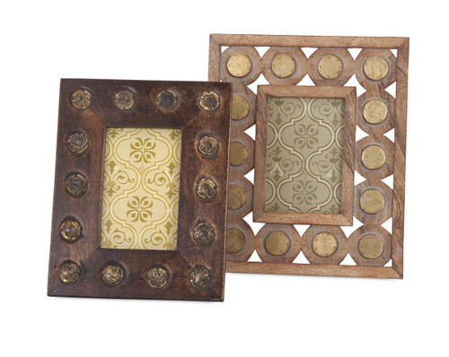 Set of 2 Egurra Hand Finished Mango Wood Decorative Photo Frames - 32600562