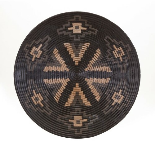 """23"""" Black and Brown Woven Look Decorative Tribal Charger - 32601004"""